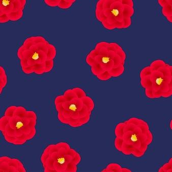 Czerwony kameliowy kwiat na marynarki wojennej błękita tle