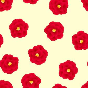 Czerwony kameliowy kwiat na żółtym tle