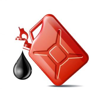Czerwony kanister oleju silnikowego lub ropy naftowej na białym tle