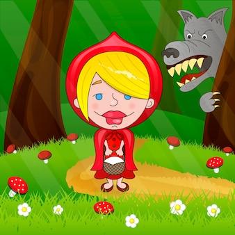 Czerwony kapturek i wilk w lesie