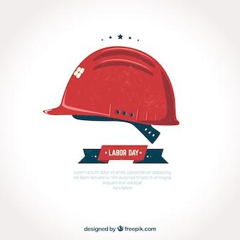 Czerwony kask pracy dni tle