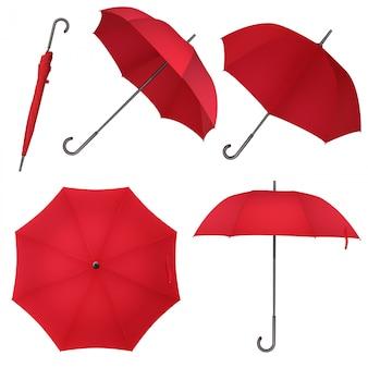 Czerwony klasyczny parasol przeciwdeszczowy