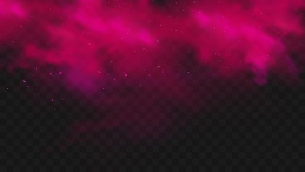 Czerwony kolor dymu lub mgły na przezroczystym ciemnym tle. streszczenie różowy wybuch proszku z cząsteczkami. kolorowe chmury pyłu eksplodują, malują holi, efekt smogu mgły. realistyczna ilustracja