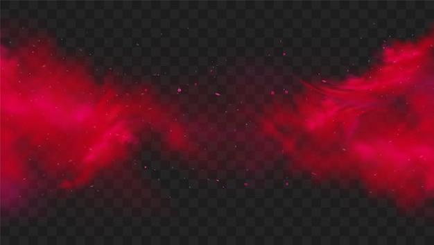 Czerwony kolor dymu lub mgły na przezroczystym ciemnym tle.
