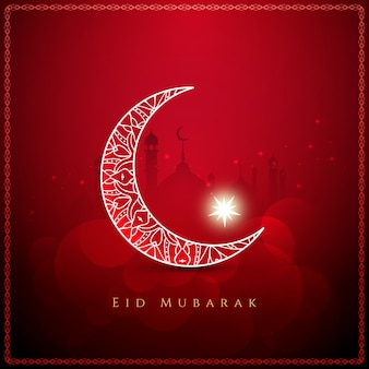 Czerwony kolor elegancki eid mubarak tle