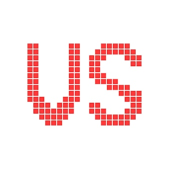 Czerwony kontra znak w grafice pikselowej. koncepcja gry wideo 8bit, razem konfrontacja, atak wroga, zapasy. na białym tle. pixelart styl trend nowoczesny projekt logotypu ilustracji wektorowych
