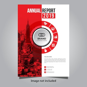 Czerwony korporacyjny raport roczny szablon okładki