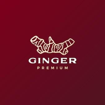 Czerwony korzeń imbiru logo wektor ikona ilustracja
