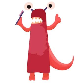 Czerwony kreskówka potwór z próchnicowymi zębami stoi ze szczoteczką do zębów w ręku.