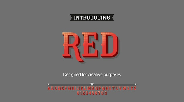 Czerwony krój pisma. rodzaj czcionki z alfabetem i cyframi