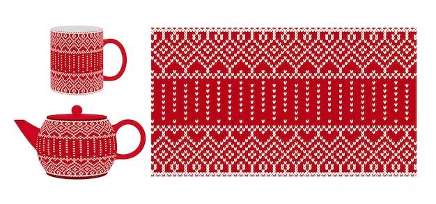 Czerwony kubek, czajniczek z dzianinową teksturą. wzór. ilustracja.