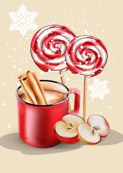Czerwony kubek z gorącą czekoladą i ozdoby świąteczne