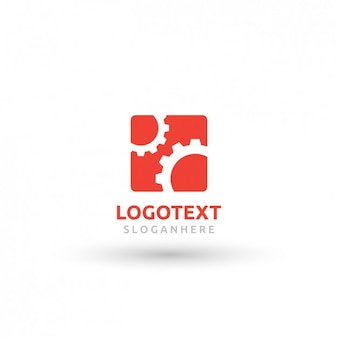 Czerwony kwadrat logo z zębatką