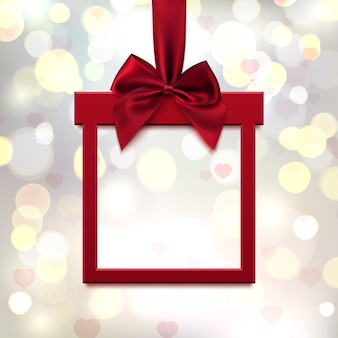 Czerwony, kwadratowy baner w formie prezentu z czerwoną wstążką i kokardą, na lite niewyraźne tło z sercami i bokeh. walentynki kartkę z życzeniami, broszurę lub szablon transparentu. ilustracja.
