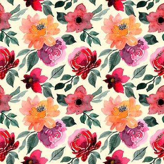 Czerwony kwiat akwarela bezszwowe wzór