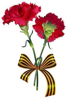 Czerwony kwiat goździka bukiet i symbol wstążki świętego jerzego rosyjski dzień zwycięstwa