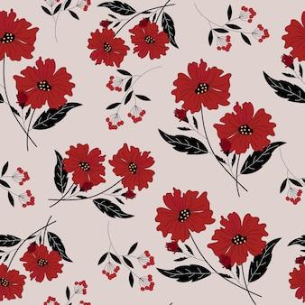 Czerwony kwiat i czarne liście wzór