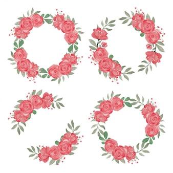 Czerwony kwiat róży wieniec ręcznie malowane w stylu przypominającym akwarele