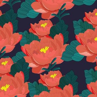 Czerwony kwiat wektor kolor szablonu