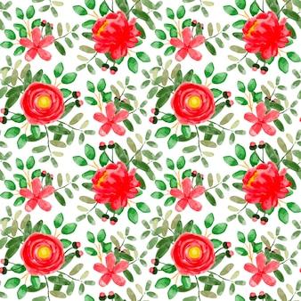 Czerwony kwiatowy akwarela bezszwowe wzór