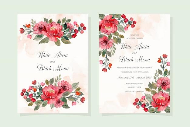 Czerwony kwiatowy akwarela karta zaproszenie na ślub