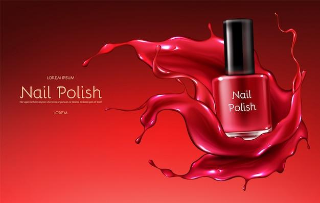 Czerwony lakier do paznokci 3d realistyczny wektor banner reklamowy z szklaną butelką w błyszczącym