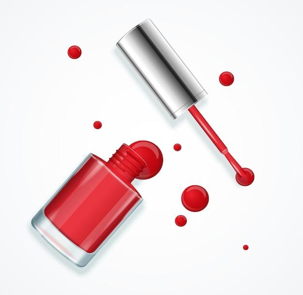 Czerwony lakier do paznokci w szklanej butelce otwarty.