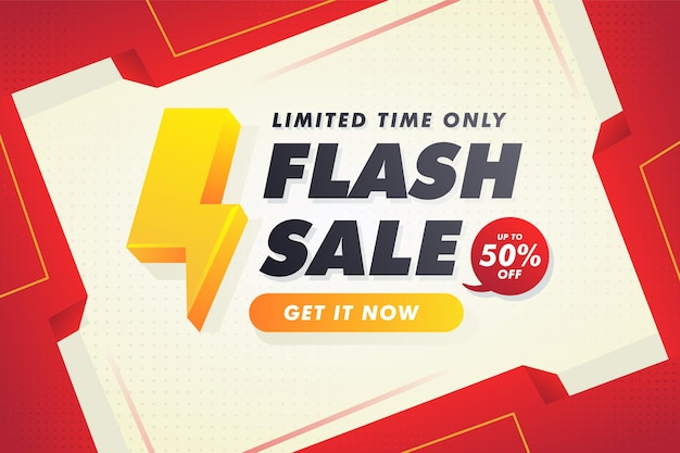 Czerwony limitowany szablon banera sprzedaży flash premium vector