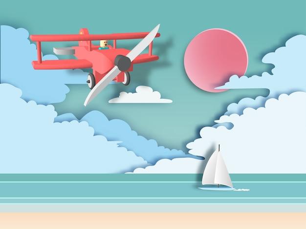 Czerwony lotniczego samolotu latanie na plażowym tle