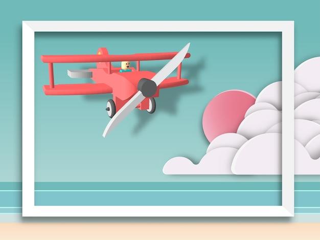 Czerwony lotniczego samolotu latanie na plaży