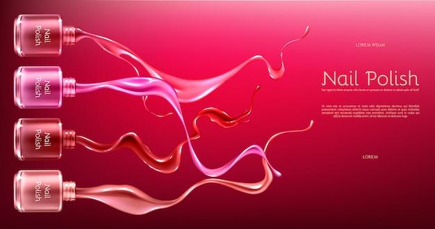 Czerwony lub różowy lakier do paznokci 3d realistyczne wektor baner reklamowy z szklaną butelką w błyszczącym