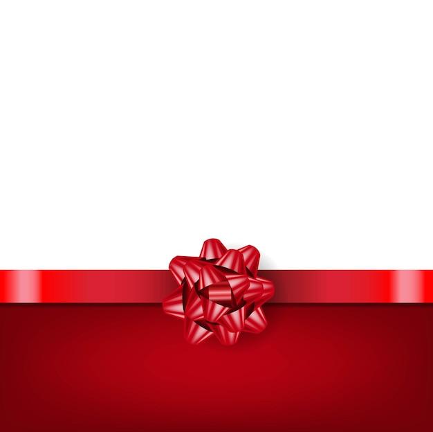 Czerwony łuk z wstążką na białym tle