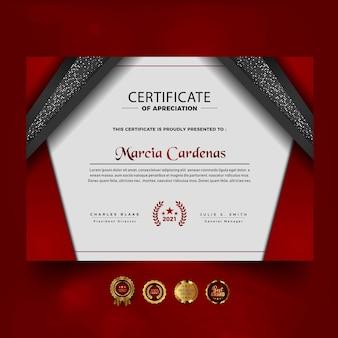 Czerwony luksusowy certyfikat projektu osiągnięć