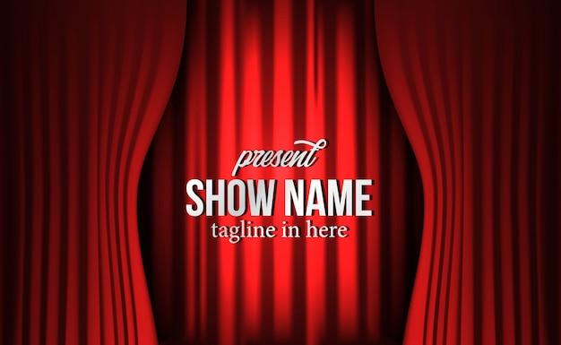 Czerwony luksusowy czerwony jedwabniczy zasłony tło przy teatru przedstawieniem