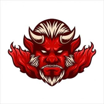 Czerwony maskotka z logo maskotki