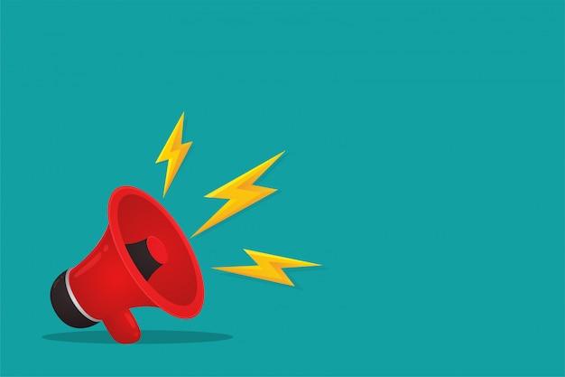 Czerwony megafon jest reklamą. sprzedaż produktów online