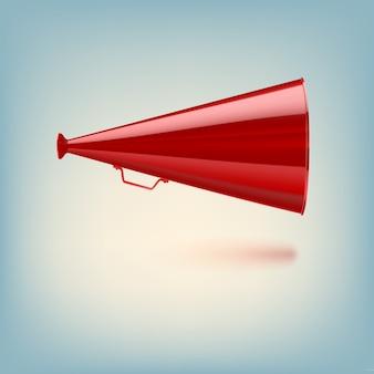 Czerwony megafon na kolorowym tle