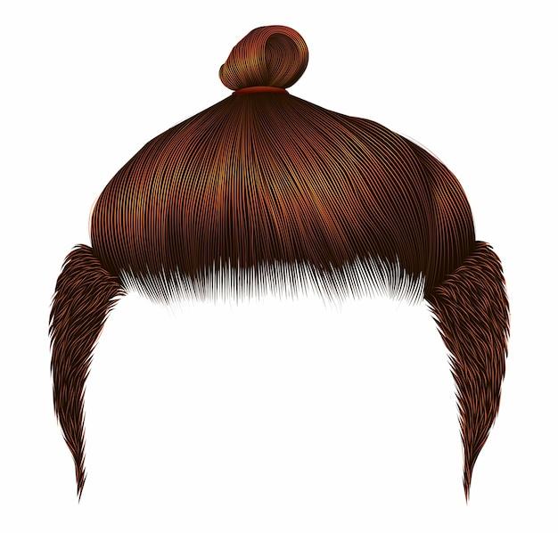 Czerwony mężczyzna włosy bun