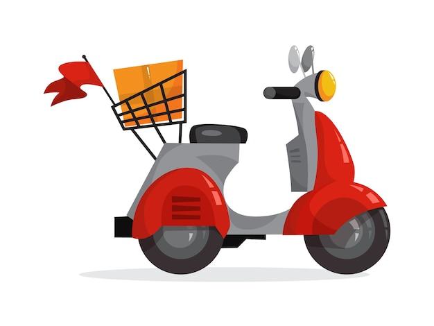 Czerwony motorower dla kuriera. skuter