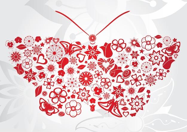Czerwony motyl z kwiatami, liśćmi, motylami i innymi przedmiotami
