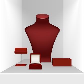 Czerwony naszyjnik kolczyki i bransoletka stojak na biżuterię z pudełkiem