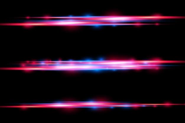Czerwony niebieski efekt specjalny promienie laserowe poziome promienie światła magia ruchu poruszających się szybkich linii;