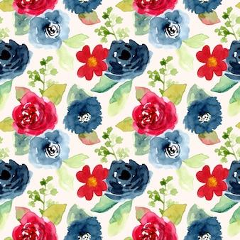 Czerwony niebieski kwiat akwarela bezszwowe wzór