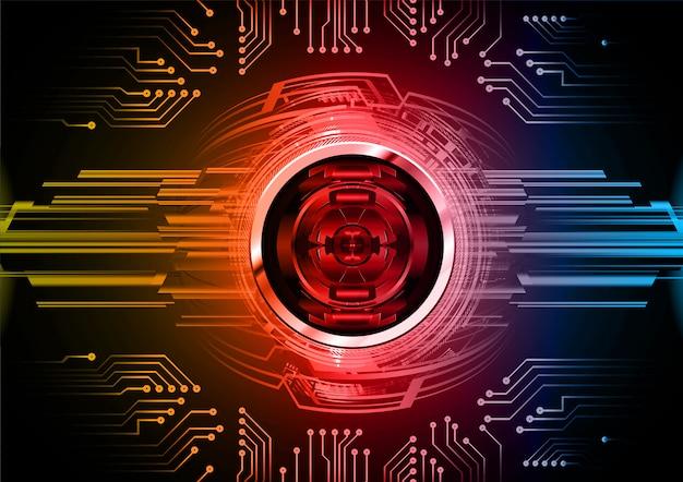 Czerwony niebieski oko cyber obwód przyszłości technologii tło