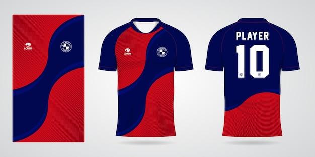 Czerwony niebieski szablon koszulki sportowej na stroje drużynowe i projekt koszulki piłkarskiej