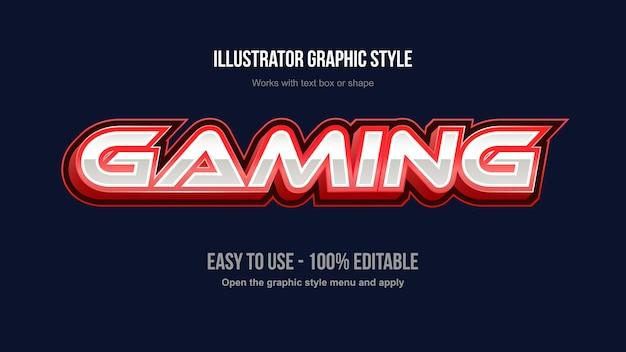 Czerwony nowoczesny metalik do gier logo edytowalny styl tekstu