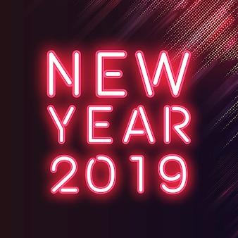 Czerwony nowy rok 2019 neonowy znak
