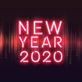 Czerwony nowy rok 2020 neonowy znaka wektor