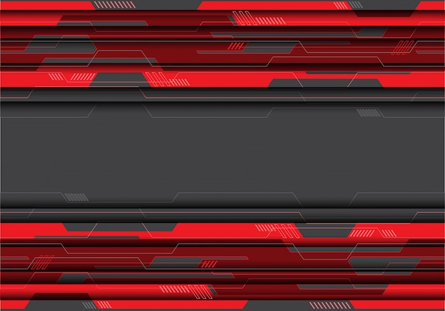 Czerwony obwód na szarym futurystycznym tle.