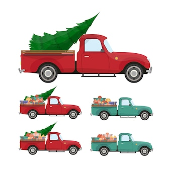 Czerwony odbiór. vintage pickup z choinką i prezentami w bagażniku. retro boże narodzenie samochód.
